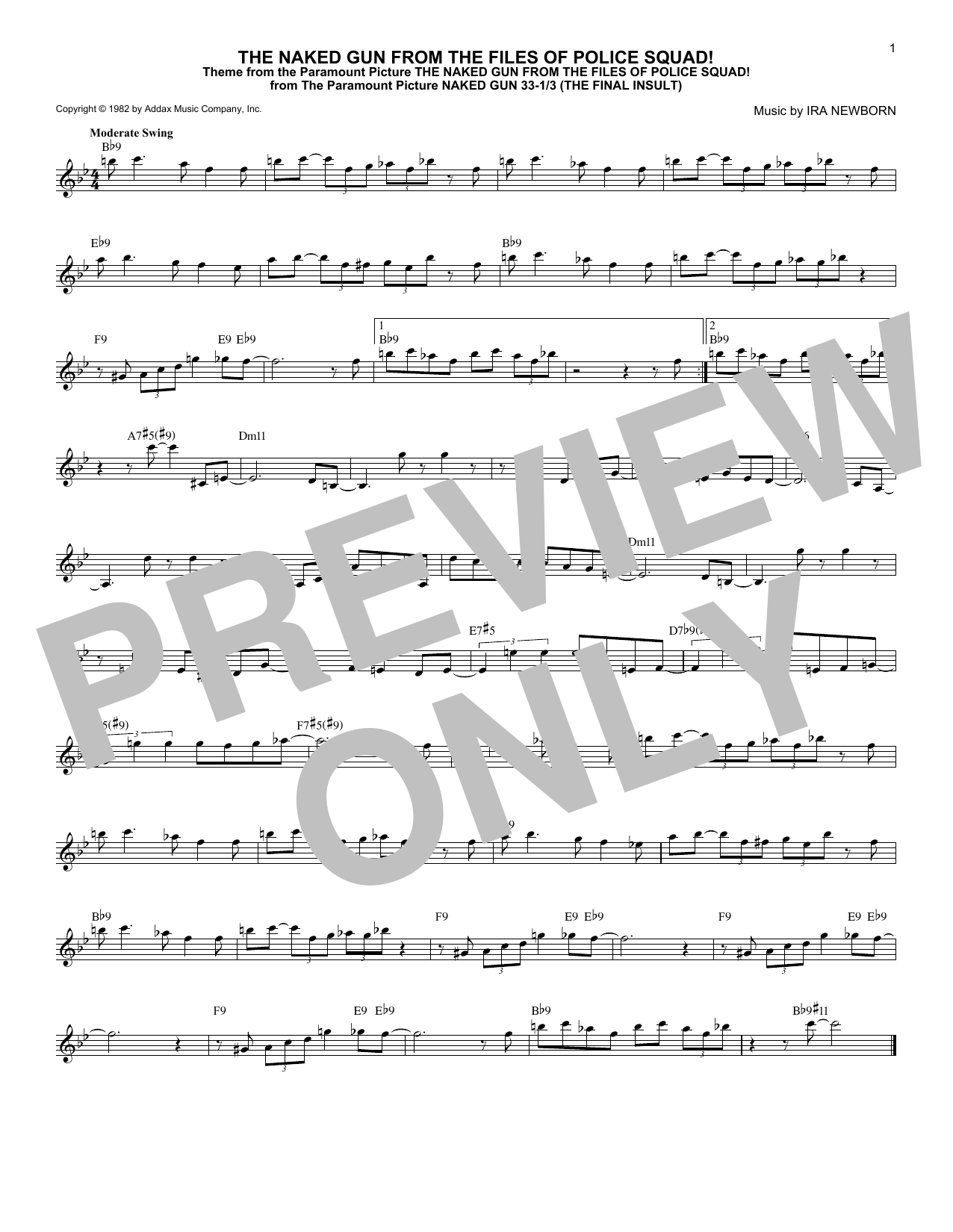 Ira Newborn The Naked Gun From The Files Of Police Squad! sheet music notes and chords. Download Printable PDF.