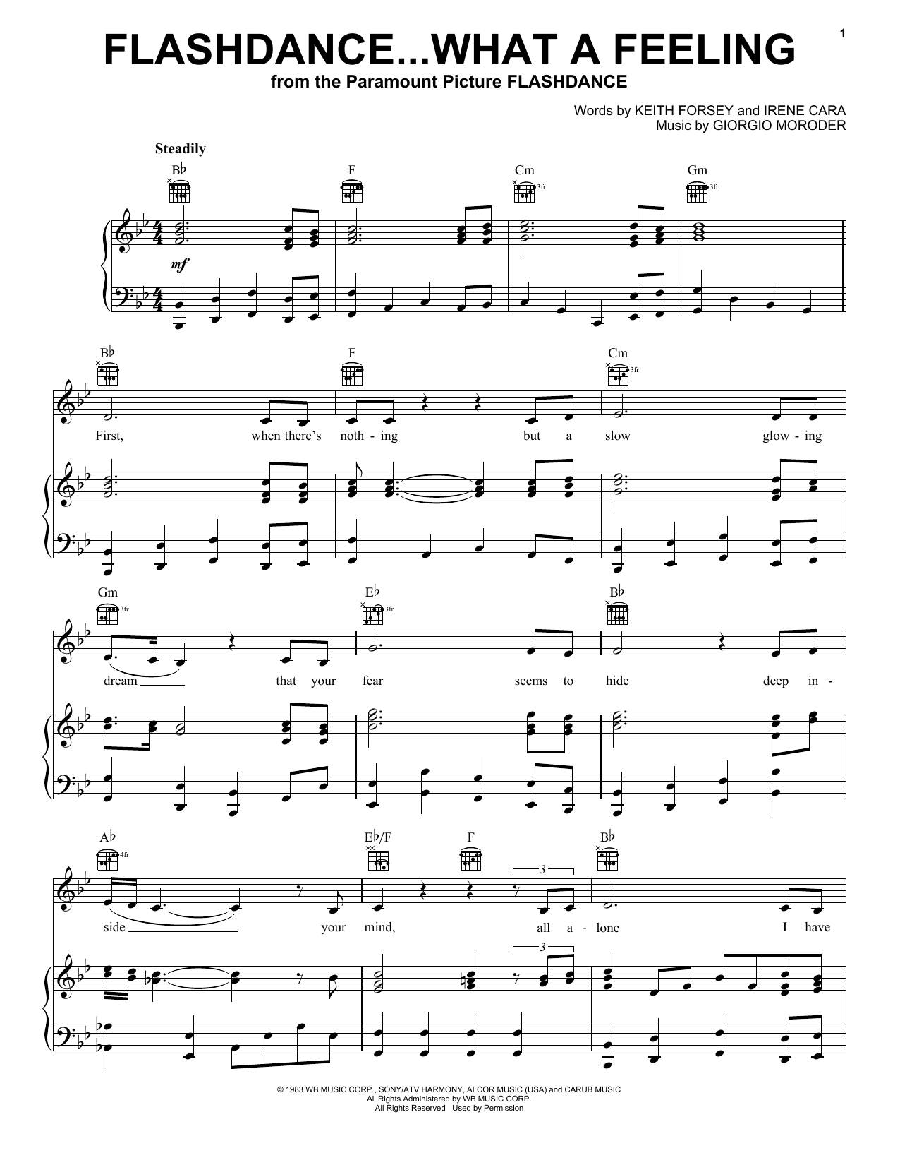 Irene Cara Flashdance...What A Feeling sheet music notes and chords. Download Printable PDF.