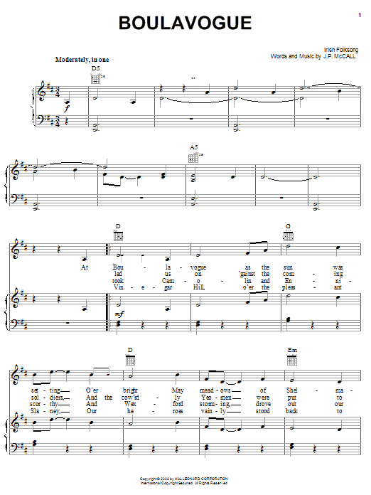Irish Folksong Boulavogue sheet music notes and chords. Download Printable PDF.