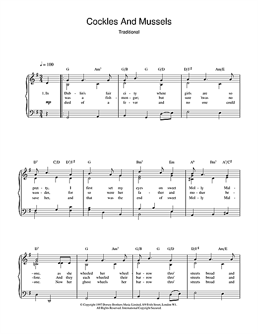 Irish Folksong Cockles And Mussels sheet music notes and chords