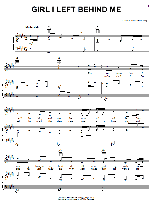 Irish Folksong Girl I Left Behind Me sheet music notes and chords. Download Printable PDF.