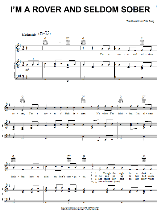 Irish Folksong I'm A Rover And Seldom Sober sheet music notes and chords. Download Printable PDF.
