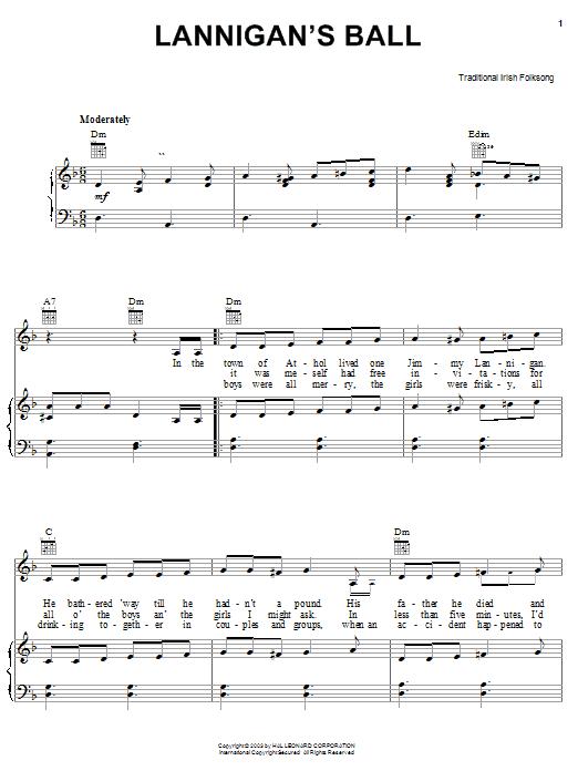 Irish Folksong Lannigan's Ball sheet music notes and chords. Download Printable PDF.