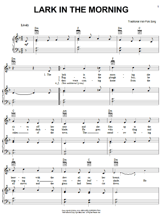 Irish Folksong Lark In The Morning sheet music notes and chords