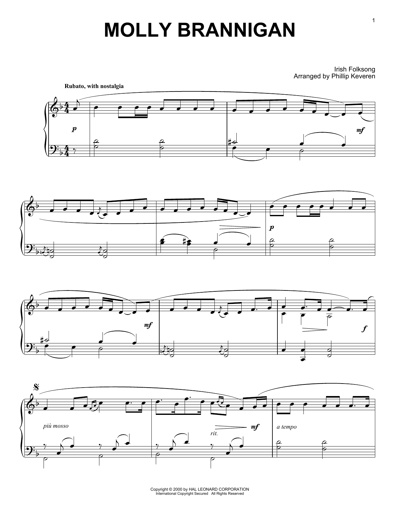 Irish Folksong Molly Brannigan (arr. Phillip Keveren) sheet music notes and chords. Download Printable PDF.
