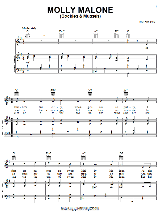 Irish Folksong Molly Malone (Cockles & Mussels) sheet music notes and chords. Download Printable PDF.