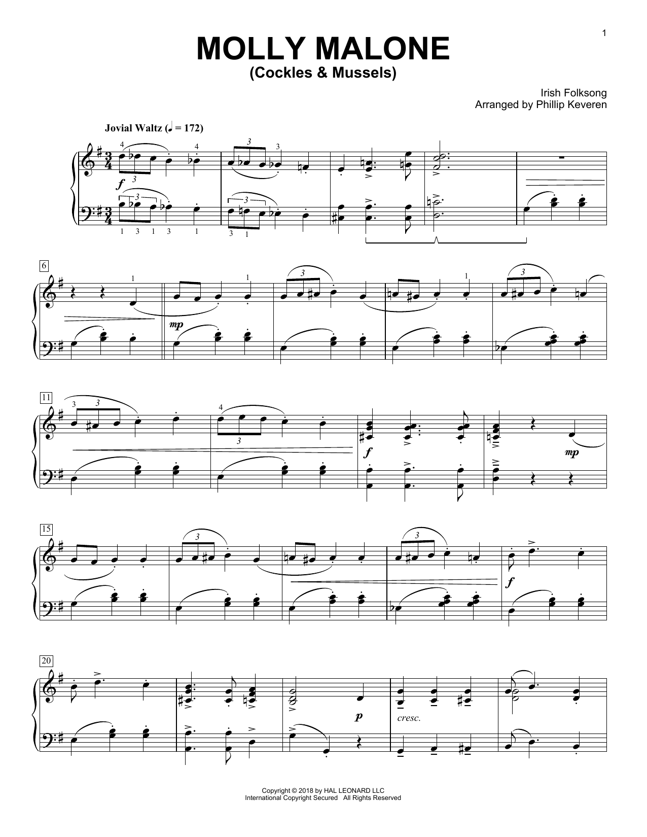Irish Folksong Molly Malone (Cockles & Mussels) [Classical version] (arr. Phillip Keveren) sheet music notes and chords. Download Printable PDF.