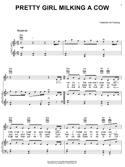 Irish Folksong Pretty Girl Milking A Cow sheet music notes and chords. Download Printable PDF.