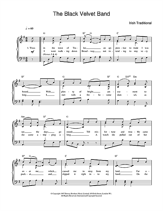 Irish Folksong The Black Velvet Band sheet music notes and chords