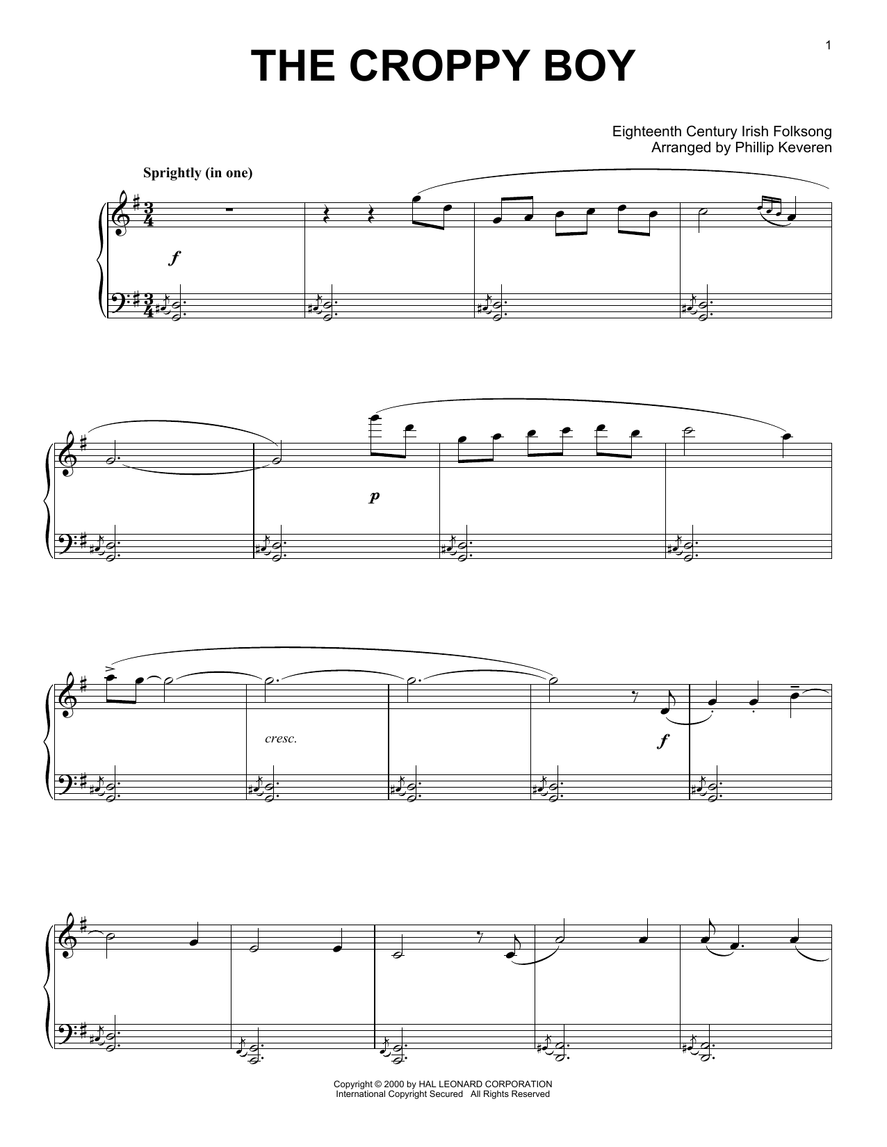 Irish Folksong The Croppy Boy (arr. Phillip Keveren) sheet music notes and chords. Download Printable PDF.