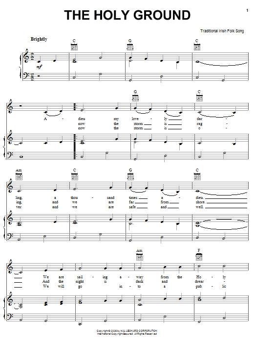 Irish Folksong The Holy Ground sheet music notes and chords. Download Printable PDF.
