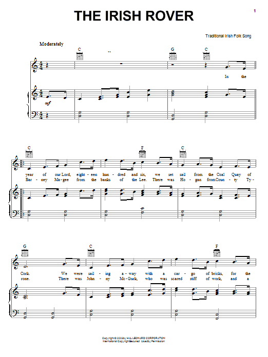 Irish Folksong The Irish Rover sheet music notes and chords