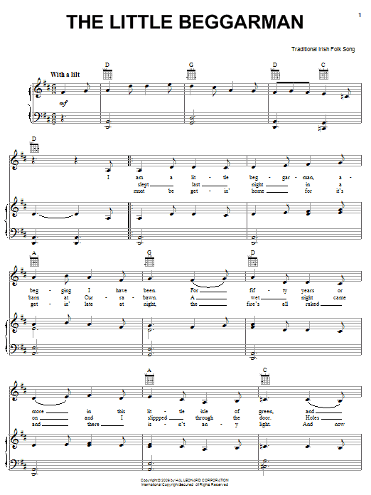 Irish Folksong The Little Beggarman sheet music notes and chords. Download Printable PDF.
