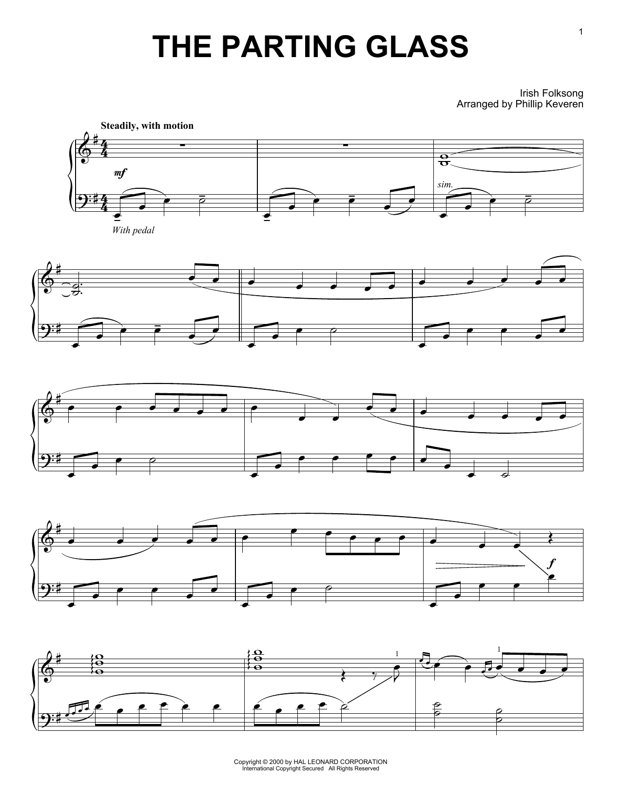 Irish Folksong The Parting Glass (arr. Phillip Keveren) sheet music notes and chords
