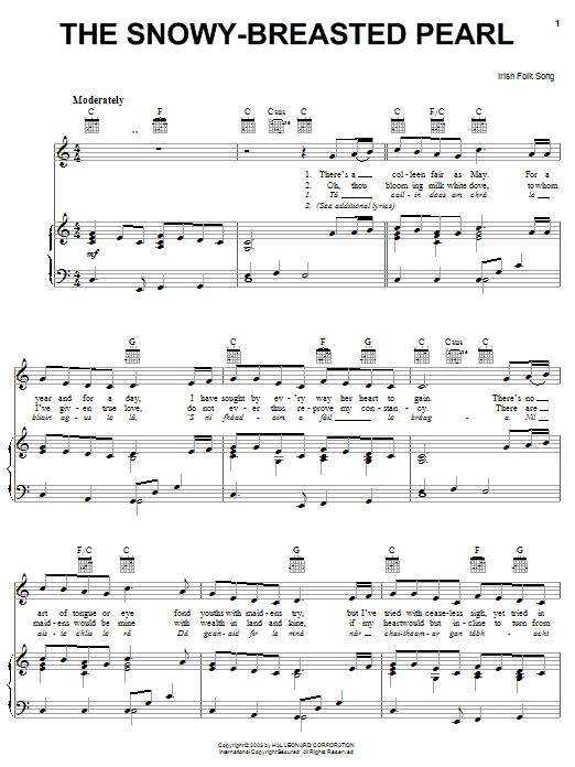 Irish Folksong The Snowy-Breasted Pearl sheet music notes and chords. Download Printable PDF.