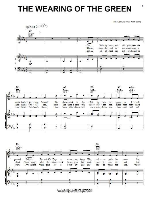Irish Folksong The Wearing Of The Green sheet music notes and chords. Download Printable PDF.