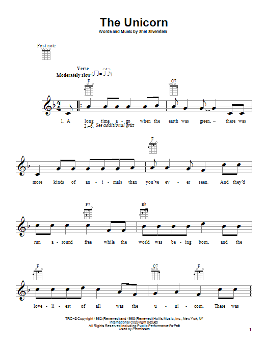 Irish Rovers The Unicorn sheet music notes and chords. Download Printable PDF.