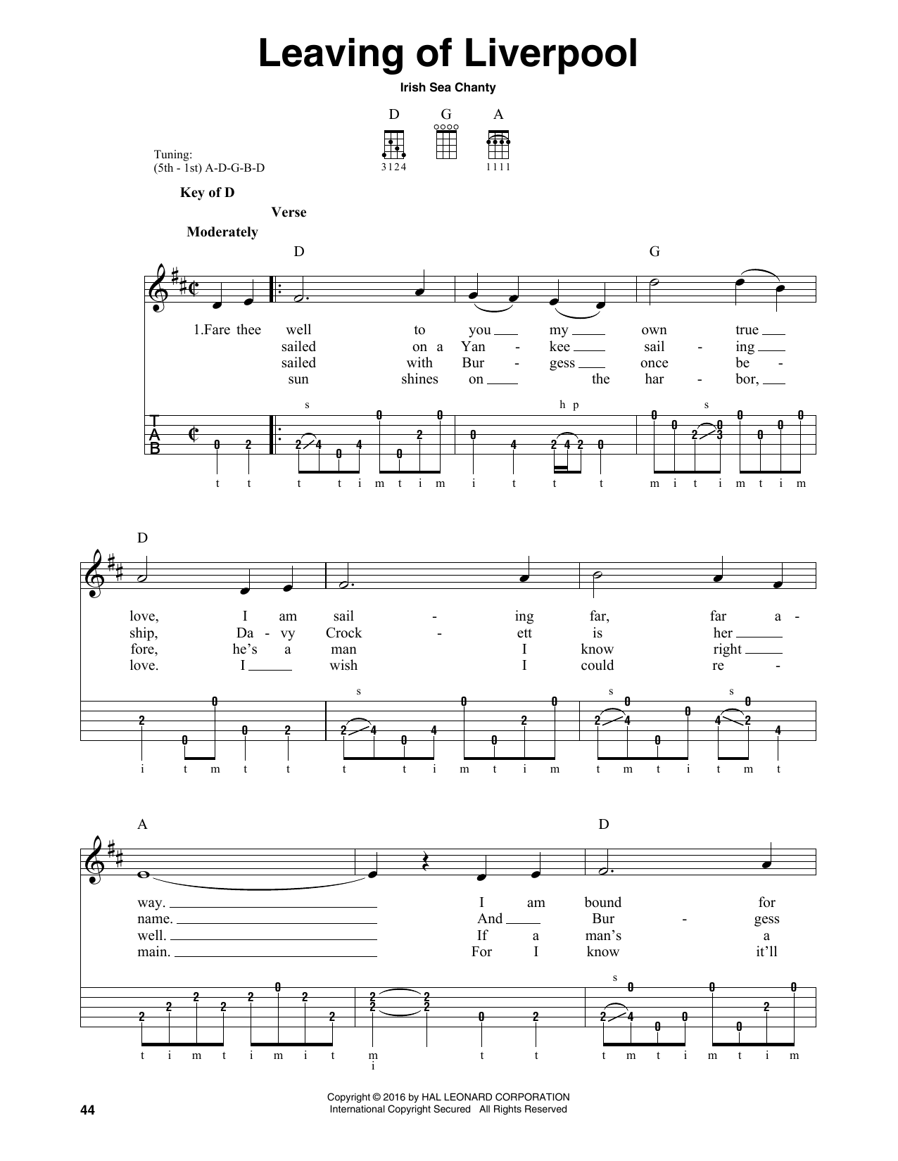 Irish Sea Shanty Leaving Of Liverpool sheet music notes and chords. Download Printable PDF.