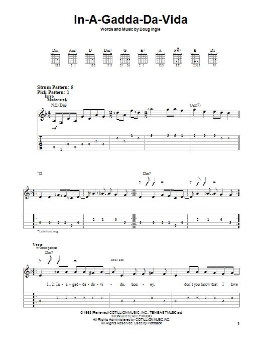 Iron Butterfly In-A-Gadda-Da-Vida sheet music notes and chords. Download Printable PDF.