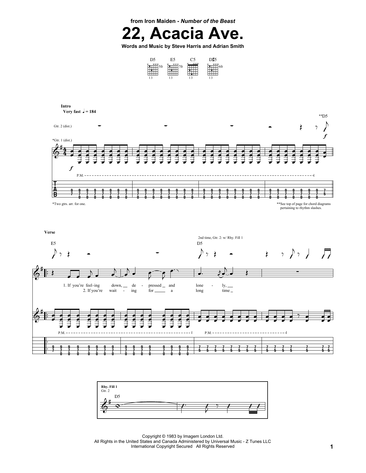 Iron Maiden 22, Acacia Ave. sheet music notes and chords