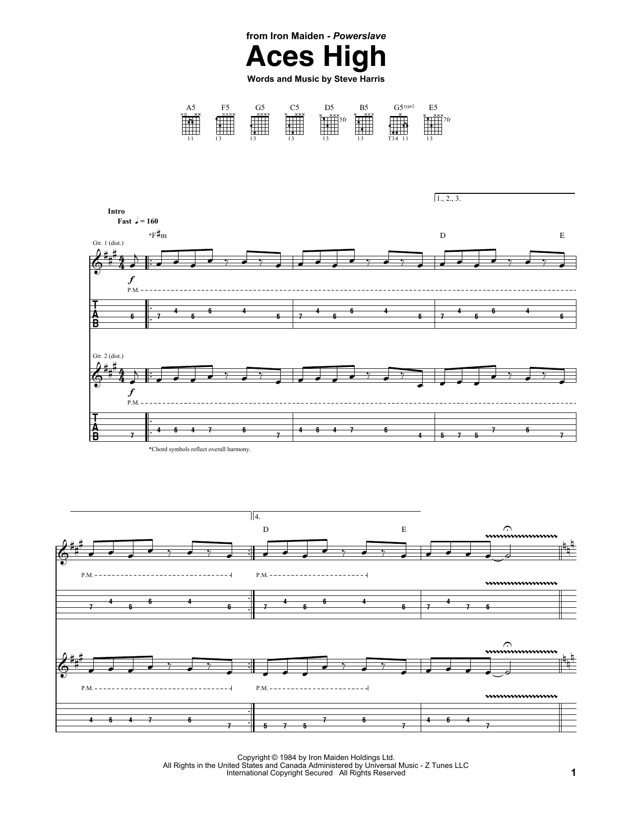 Iron Maiden Aces High sheet music notes and chords. Download Printable PDF.