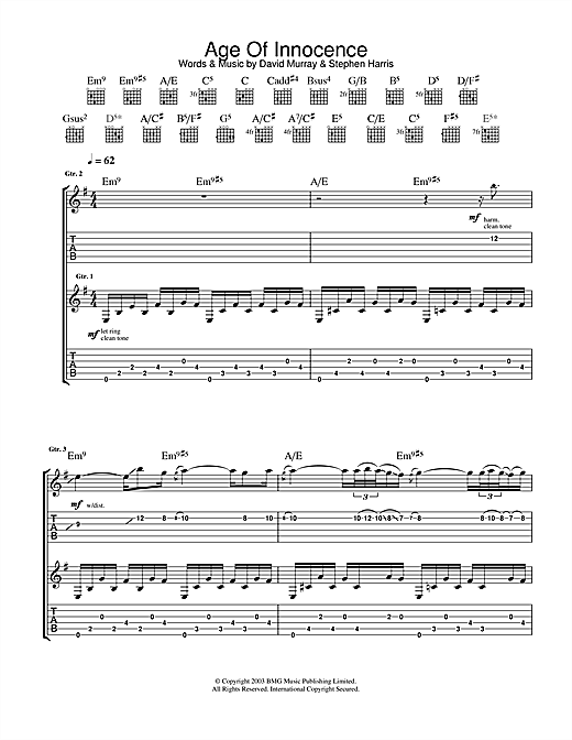 Iron Maiden Age Of Innocence sheet music notes and chords. Download Printable PDF.