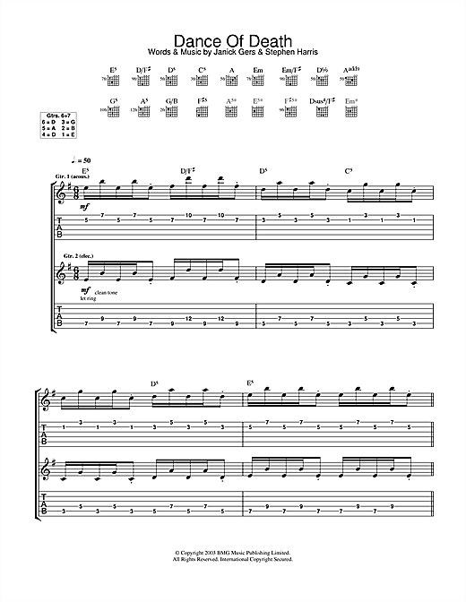 Iron Maiden Dance Of Death sheet music notes and chords. Download Printable PDF.