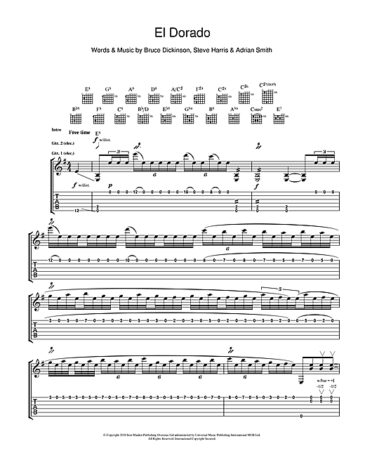 Iron Maiden El Dorado sheet music notes and chords. Download Printable PDF.