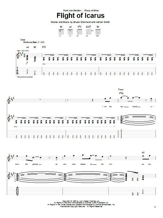 Iron Maiden Flight Of Icarus sheet music notes and chords. Download Printable PDF.