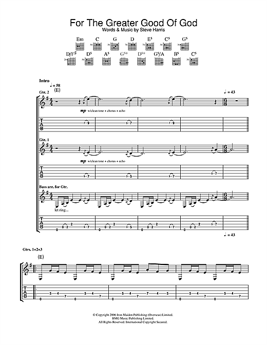 Iron Maiden For The Greater Good Of God sheet music notes and chords. Download Printable PDF.