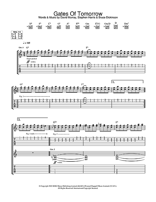 Iron Maiden Gates Of Tomorrow sheet music notes and chords. Download Printable PDF.