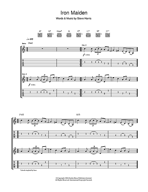 Iron Maiden Iron Maiden sheet music notes and chords. Download Printable PDF.