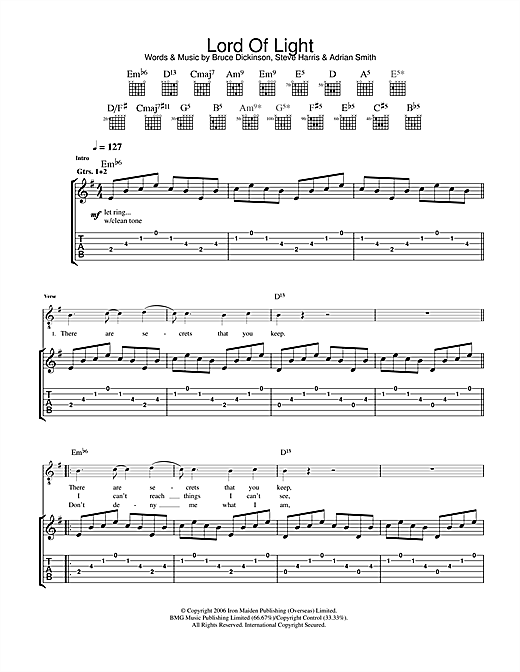 Iron Maiden Lord Of Light sheet music notes and chords. Download Printable PDF.