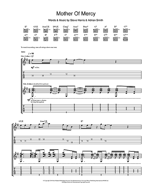 Iron Maiden Mother Of Mercy sheet music notes and chords. Download Printable PDF.