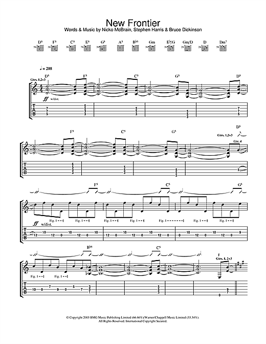 Iron Maiden New Frontier sheet music notes and chords. Download Printable PDF.