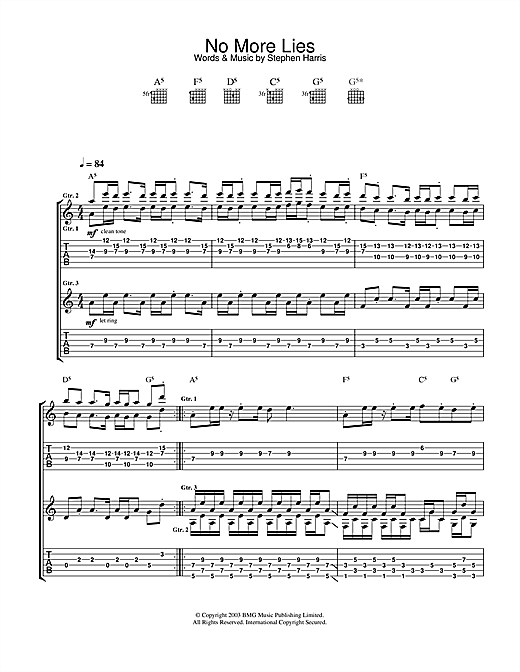 Iron Maiden No More Lies sheet music notes and chords. Download Printable PDF.