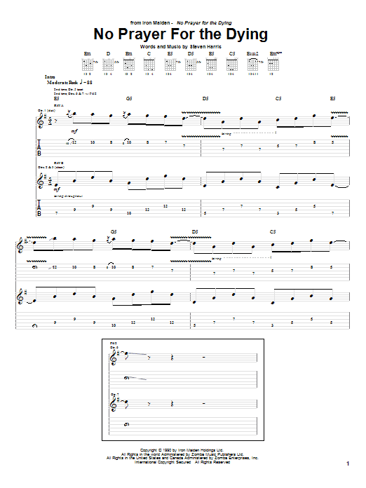 Iron Maiden No Prayer For The Dying sheet music notes and chords. Download Printable PDF.