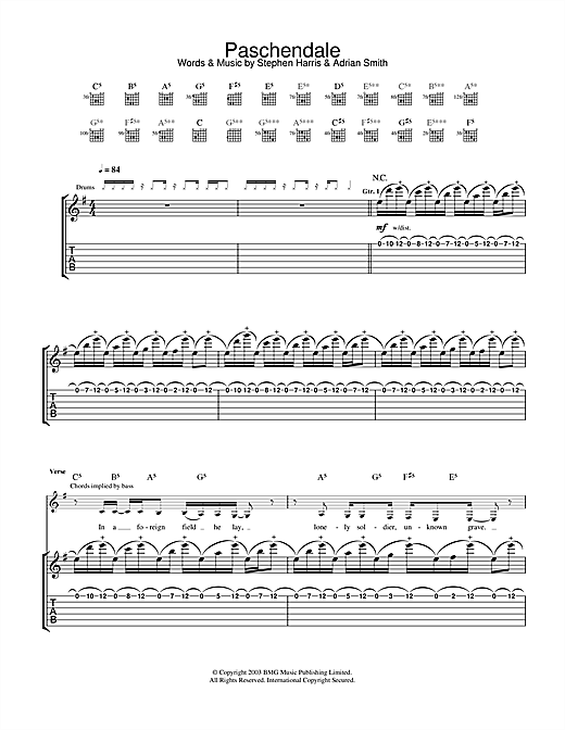 Iron Maiden Paschendale sheet music notes and chords. Download Printable PDF.