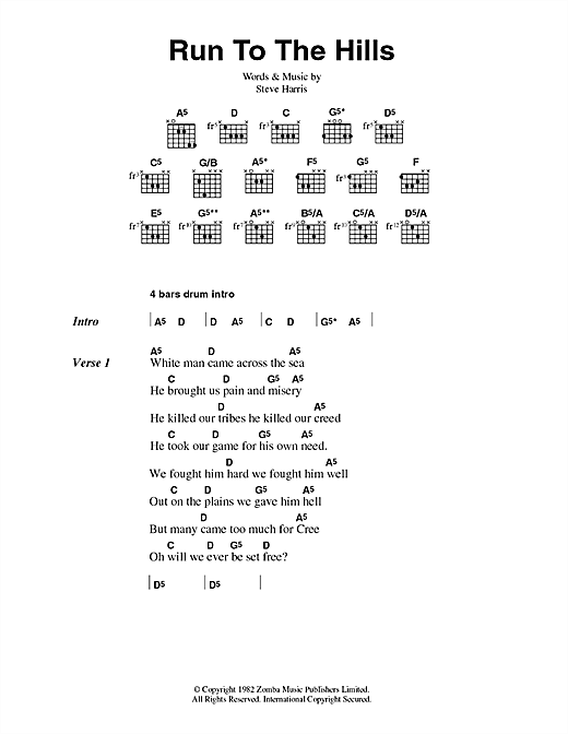 Iron Maiden Run To The Hills sheet music notes and chords. Download Printable PDF.