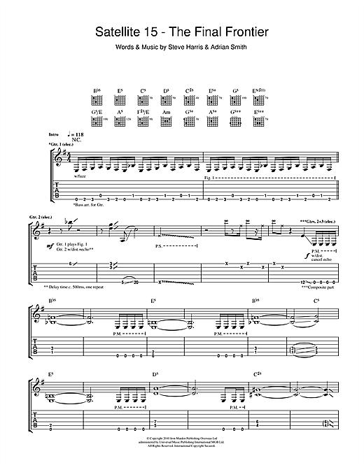 Iron Maiden Satellite 15 - The Final Frontier sheet music notes and chords. Download Printable PDF.