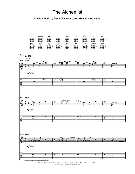 Iron Maiden The Alchemist sheet music notes and chords. Download Printable PDF.