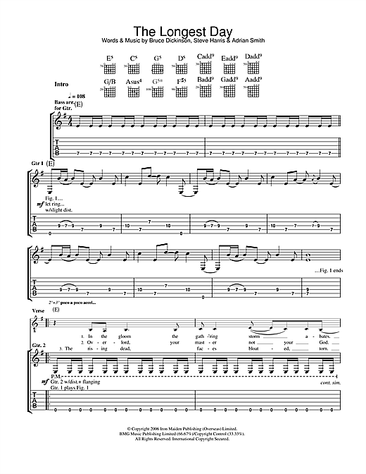 Iron Maiden The Longest Day sheet music notes and chords. Download Printable PDF.