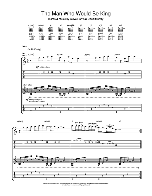 Iron Maiden The Man Who Would Be King sheet music notes and chords. Download Printable PDF.