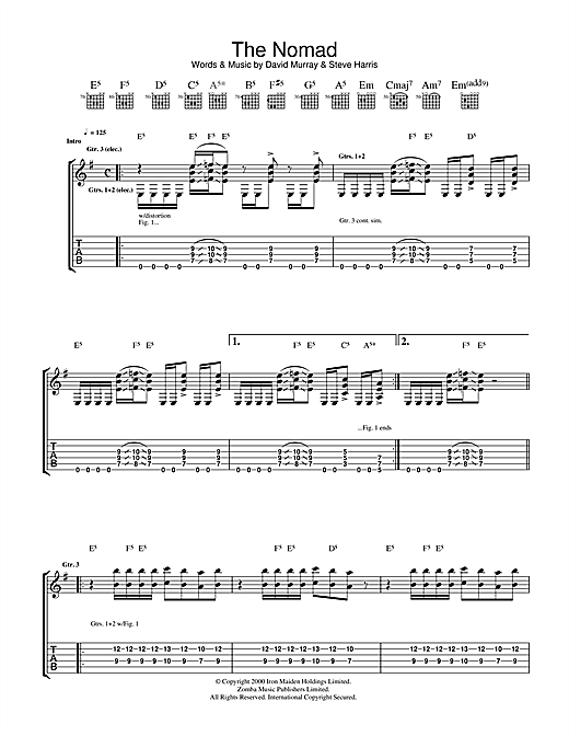 Iron Maiden The Nomad sheet music notes and chords. Download Printable PDF.