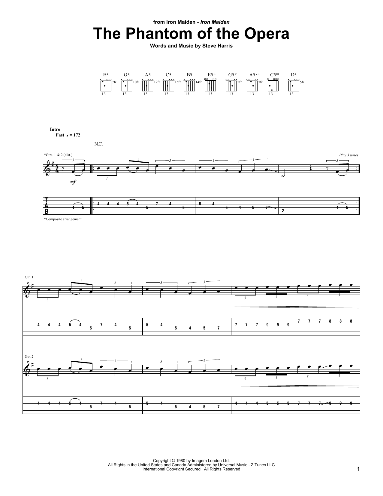 Iron Maiden 'The Phantom Of The Opera' Sheet Music Notes, Chords | Download  Printable Guitar Tab - SKU: 55347