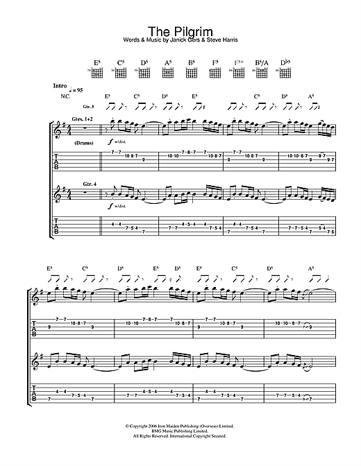 Iron Maiden The Pilgrim sheet music notes and chords. Download Printable PDF.