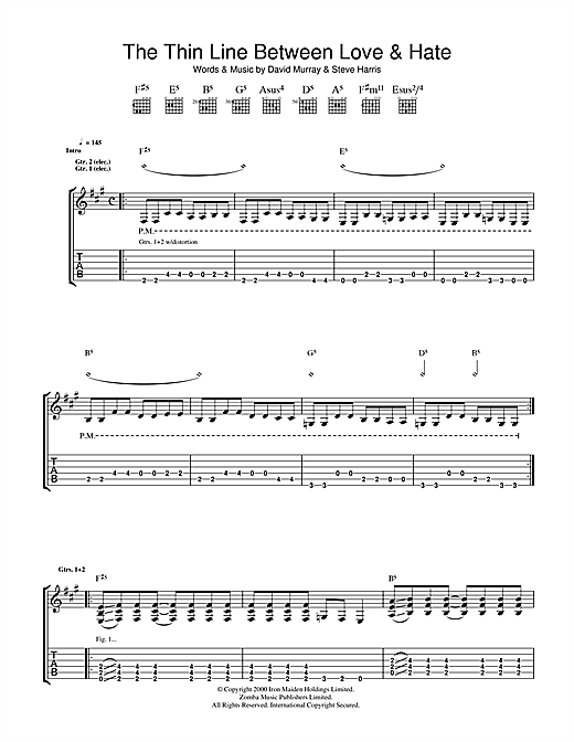 Iron Maiden The Thin Line Between Love And Hate sheet music notes and chords. Download Printable PDF.
