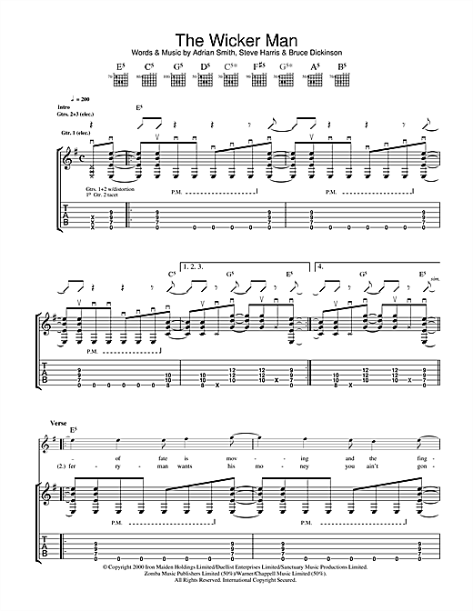 Iron Maiden The Wicker Man sheet music notes and chords. Download Printable PDF.