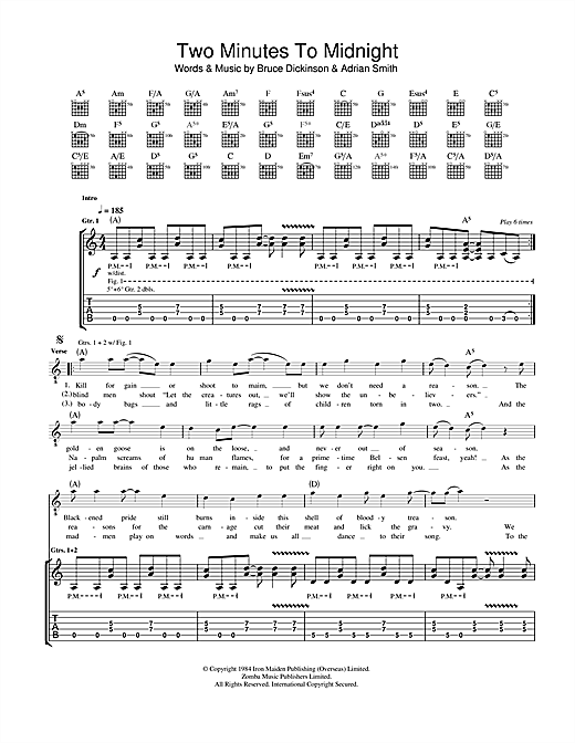 Iron Maiden Two Minutes To Midnight sheet music notes and chords. Download Printable PDF.
