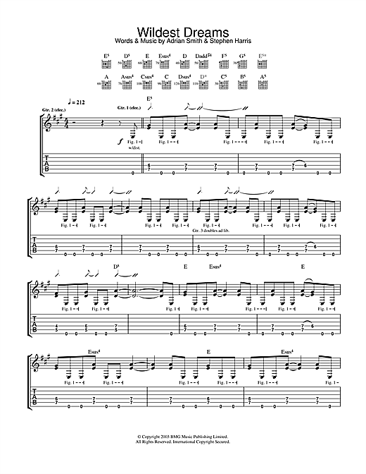 Iron Maiden Wildest Dreams sheet music notes and chords. Download Printable PDF.